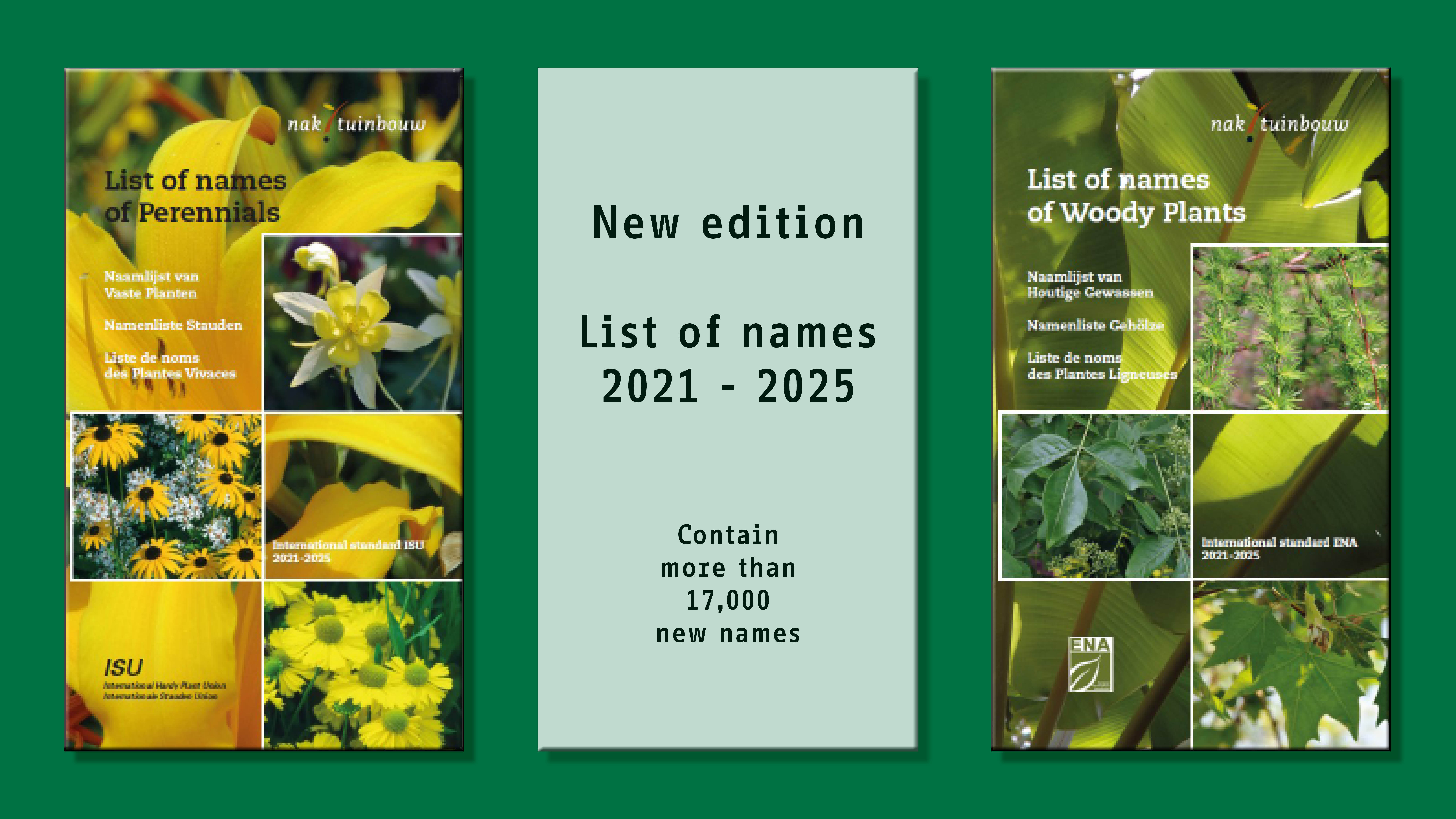 New editions List of Names woody plants and perennials 2021-2025